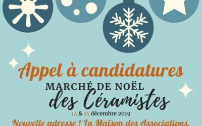 Appel à candidatures ! Marché de Noël des céramistes 2019